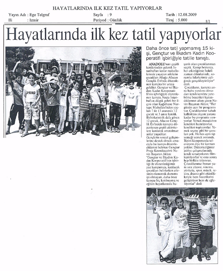 2009.08.12 - Genç Tatil - Ege Telgraf Gazetesi İzmir