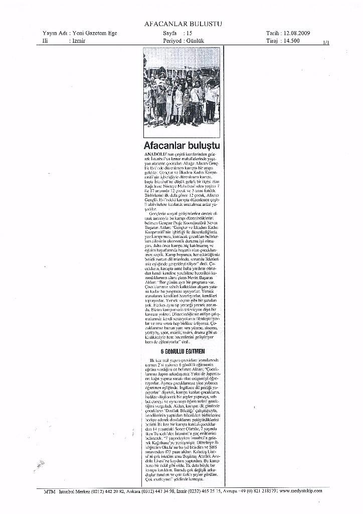 2009.08.12 - Yeni Gazetem Ege - İzmir
