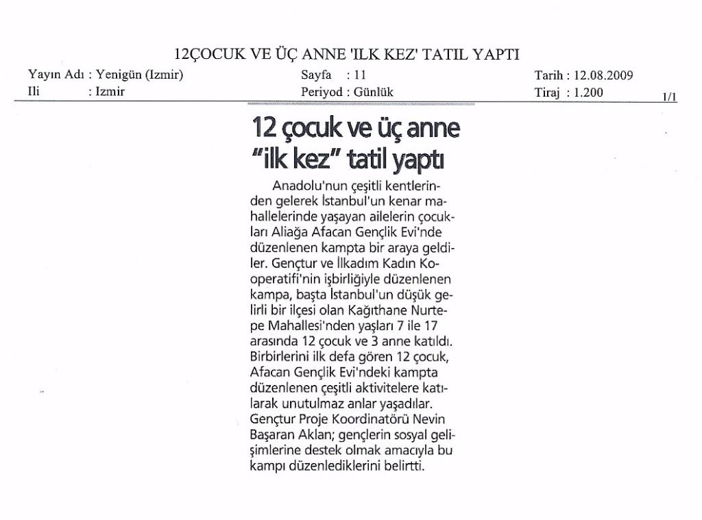 2009.08.12 - Genç Tatil - Yenigün - İzmir