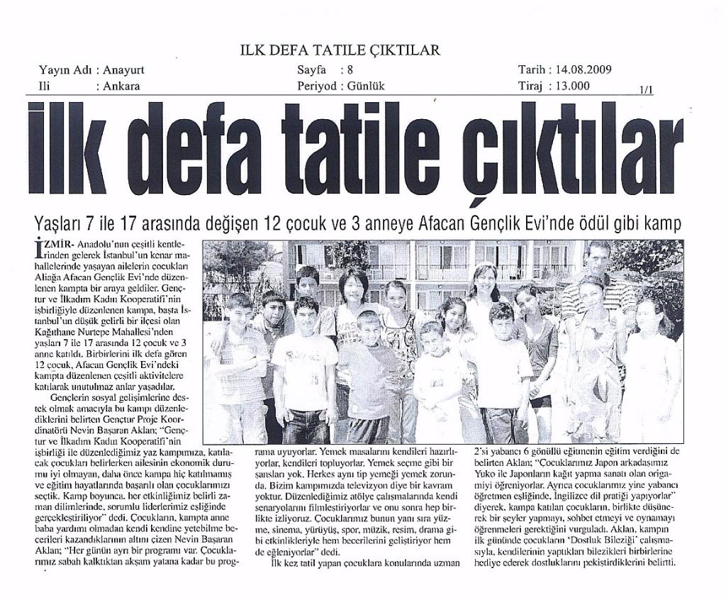 2009.08.14 - Genç Tatil - Anayurt Gazetesi Ankara